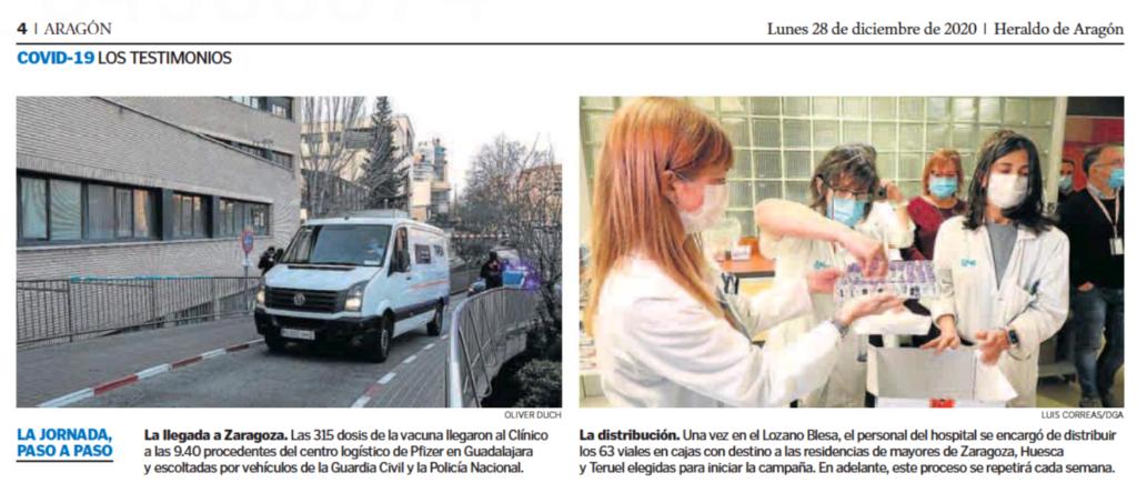 hospital clínico recibe vacunas COVID-19